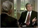 CBS's Dan Rather interviewing former President Clinton